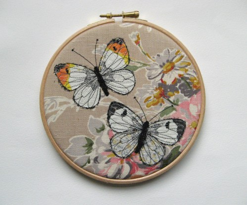orange tip butterfly pair 6 inch hoop 004